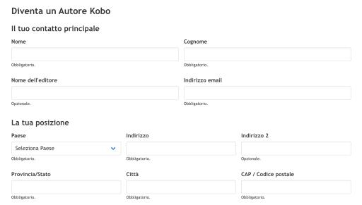 Dashboard per creare account Kobo