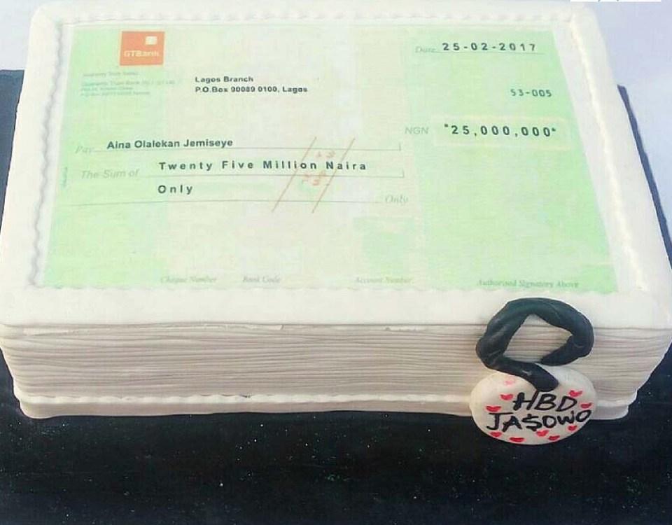 GT Bank Cheque Book Cake