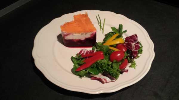 Rote Bete Gelee mit Lachs und Meerrettichmousse kochen aus liebe