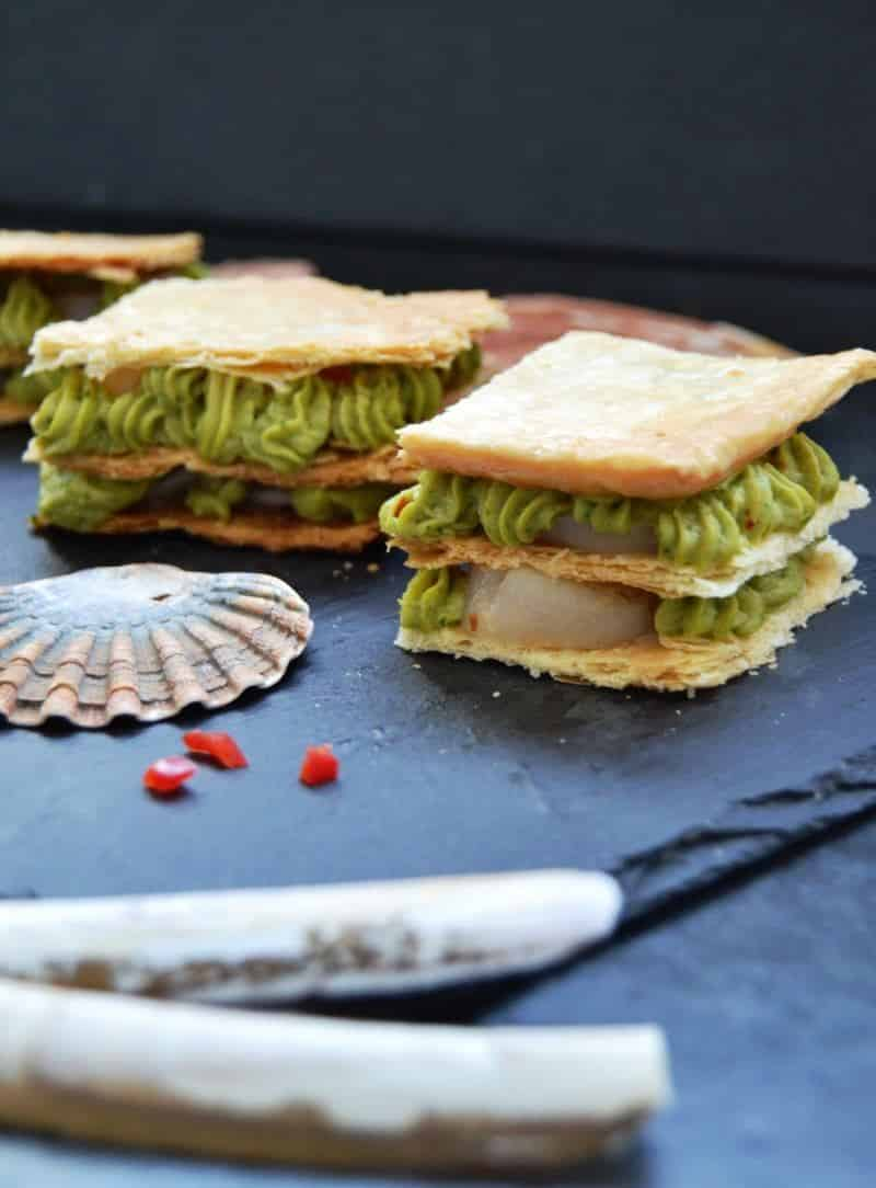 Millefeuille aux Saint Jacques - Blätterteig mit Jakobsmuschel und Avocado kochen aus liebe
