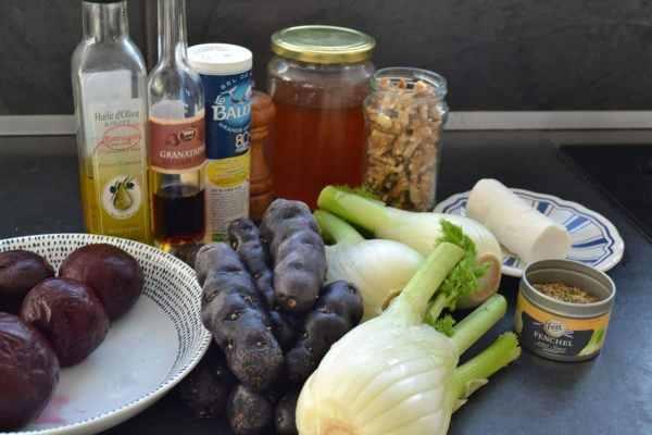 Fenchel , rote Bete , Trüffelkartoffeln , Ziegenkäse und Olivenöl