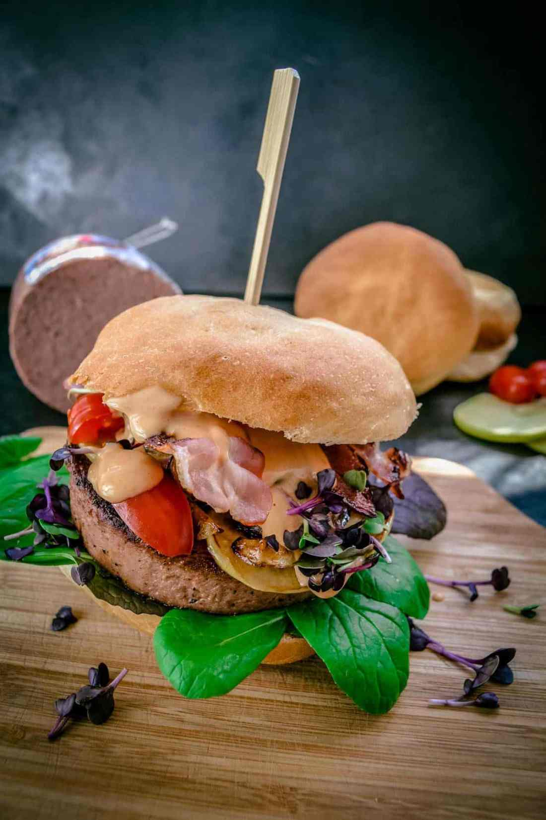 Pfälzer Leberrollen Burger für das Bloggerevent von Cornelius Wurstwaren