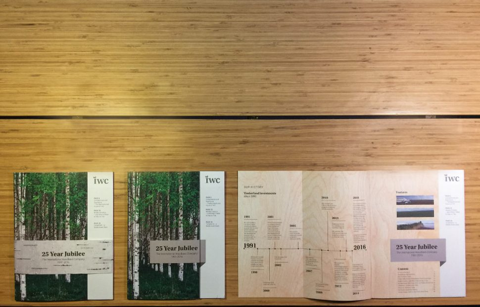 "A display of Magasin with banderole of ""birch bark"", Cover of magasin, inside cover spread with timeline."