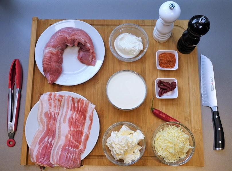 Schweinefilet überbacken mit Bacon und Frischkäsesauce