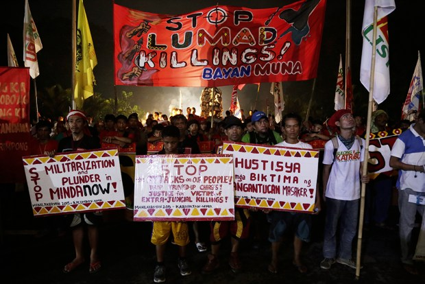 Visibly tired, the Lumad still make their message clear with banners they brought from Mindanao.