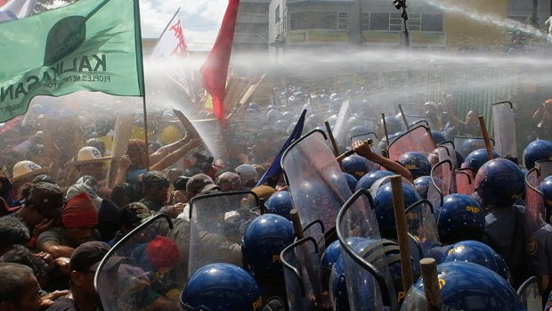 The police used water cannons against the protesters when their line was about to be breached.