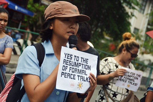A youth activist called on the people to join the clamor for just and lasting peace. (Photo by Keilah Dimpas)