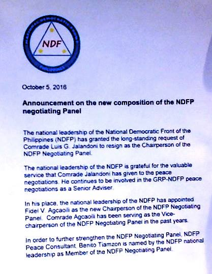 The statement by the NDFP announcing changes in its peace panel.
