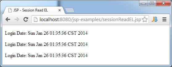 JSP Session Read Using EL