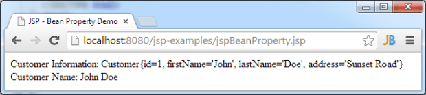 JSP Bean Property Demo