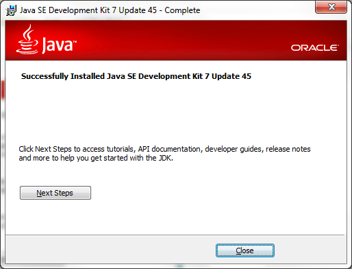 JDK Installation Completed