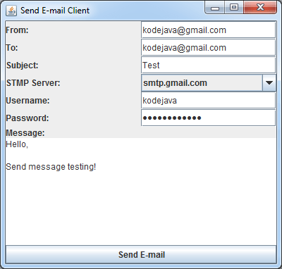 How Do I Create A Simple Mail Client Program In Swing