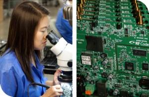 Woman-Examining-PCB-under-microscope