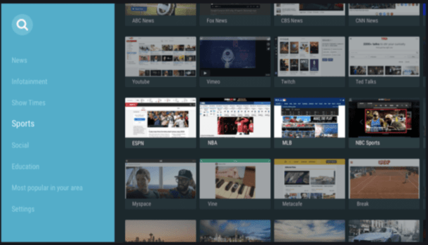 puffin tv browser tile interface