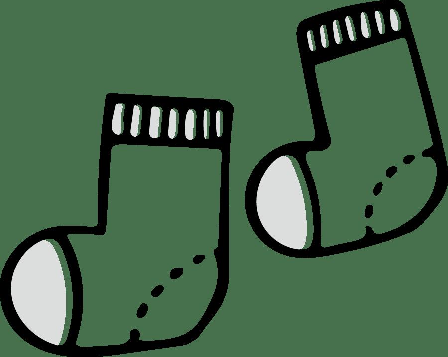 靴下のかわいいイラスト4~モノクロ、白黒~