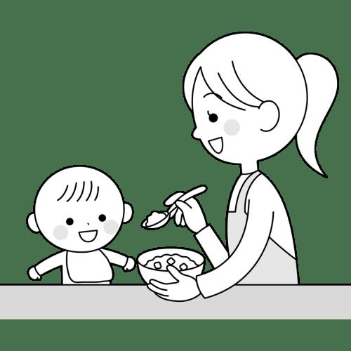 離乳食 赤ちゃん かわいい イラスト フリー 無料 白黒 モノクロ