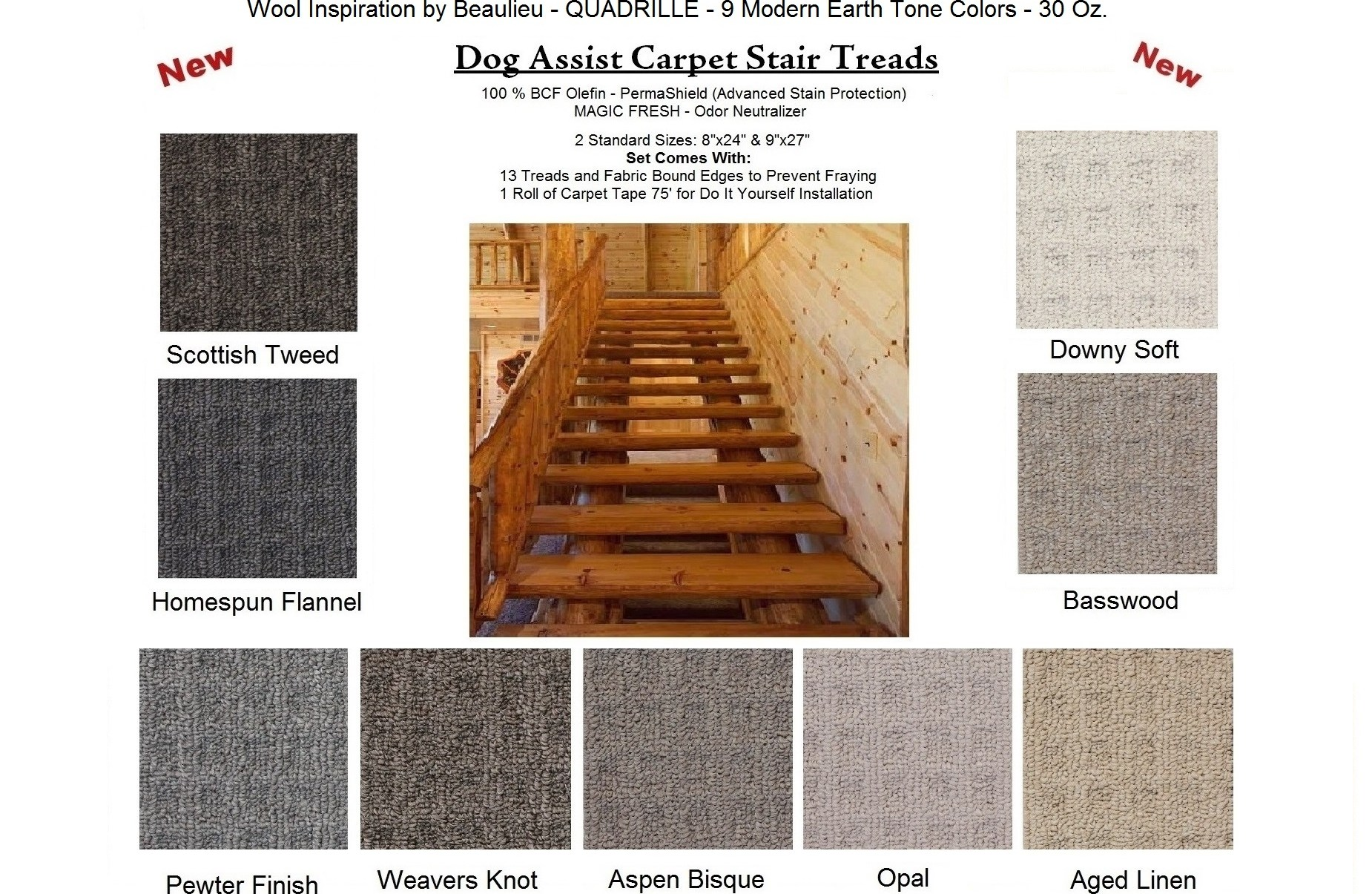 Quadrille Dog Assist Carpet Stair Treads   Wool Carpet Stair Treads   Zealand Wool   Bullnose Padded   Flooring   Plush Carpet   Cat Pet