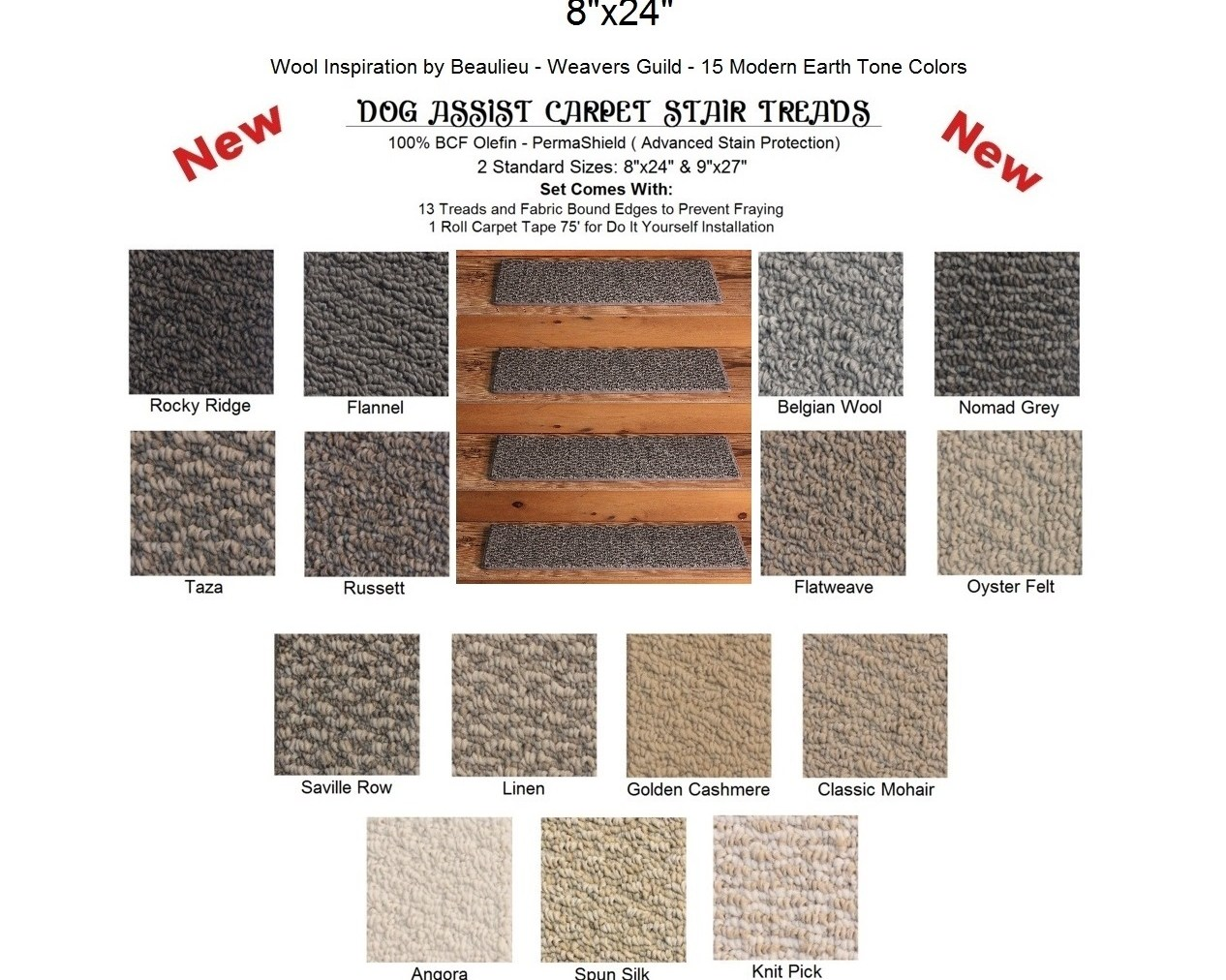 Dog Treads Dog Stair Treads Weavers Guild Dog Assist Stair Treads | Wool Carpet Stair Treads | Flooring | Zealand Wool | Beige Carpet | Cat Pet | Hardwood Stairs