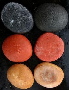 Burger Zutaten unsere drei Farben Brötchen