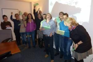 Der Crowdfunding-Workshop der Kölner KulturPaten mit Anke von Heyl (1.vr.) und Julja Schneider (2.v.r.)
