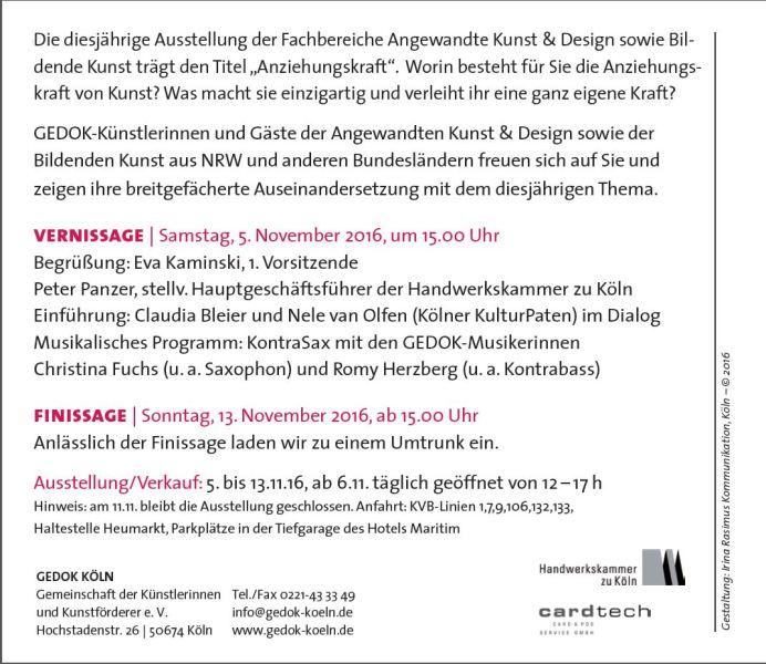 Ausstellungseröffnung Gedok Handwerkskammer Köln 5.11.2016