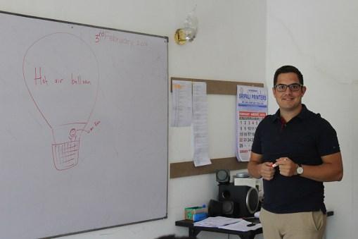 Een spreek-oefening in de klas