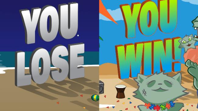 Win and lose game splash screen.