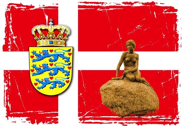 Dänemark mit Glagge Meerjungfrau und Landeswappen