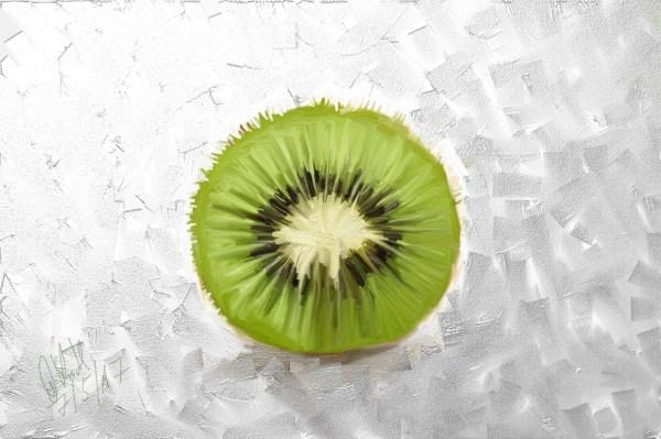 Eine Kiwi, Spachtel auf Leinwand, Keirahmen