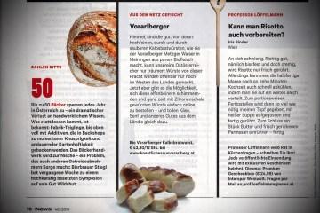 Artikel über die BIO Kalbsbratwürste der Metzgerei Walser in Meiningen, die durch Köstliches aus Vorarlberg in Wien verkauft werden, in der Zeitschrift NEWS vom 19. November 2016