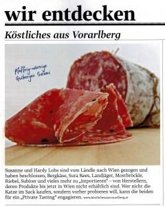 Gsiberger Salami der Metzgerei Walser in Meiningen in Vorarlberg in einem Artikel in der Zeitschrift Gusto im Dezember 2016
