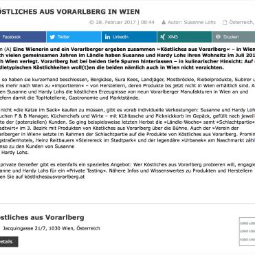 Artikel über KÖSTLICHES AUS VORARLBERG auf dem Wirtschaftsportal wirtschaftszeit.at