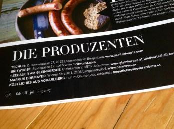 Übersicht Produzenten inklusive Köstliches aus Vorarlberg im Falstaff Magazin Ausgabe Juli/August 2017