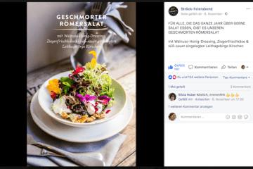 Screenshot eines Facebook Postings von Ströck Feierabend mit unserem Ziegenfrischkäse von der Metzler Käse-Molke GmbH in Egg im Bregenzerwald