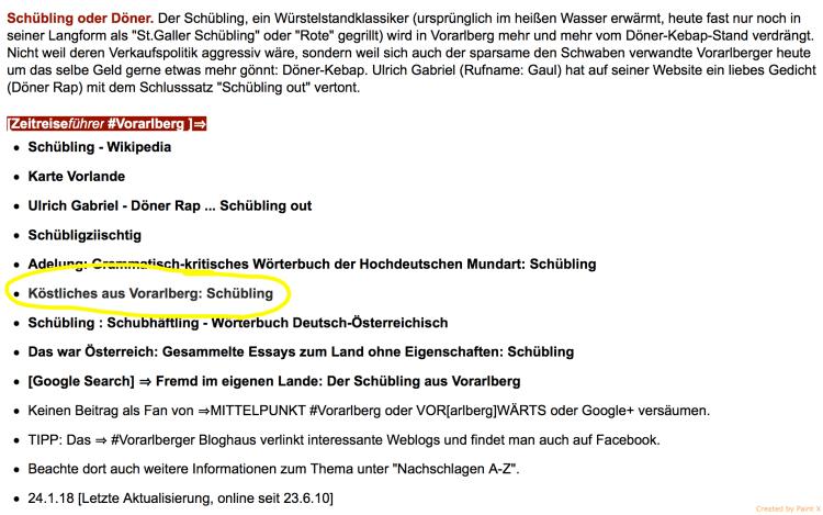 KÖSTLICHE Schüblinge im Zeitreiseführer Vorarlberg