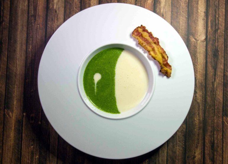 Spinat küsst Pastinake - Spinatsuppe mit Wasabi und Pastinakensuppe mit Wermut