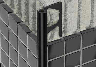 schluter rondec wall and countertop profile black anodized
