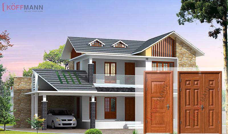 cửa thép vân gỗ Koffmann mang đến ngôi nhà chắc chắn và sang trọng