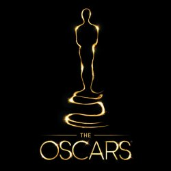"""Golden outline of Oscar statue and text """"The Oscars"""""""