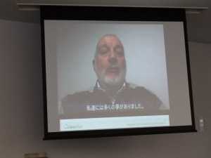 Italo's video message with Japanese caption.