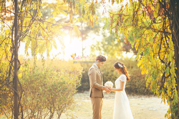 fall leaves pre wedding shoot