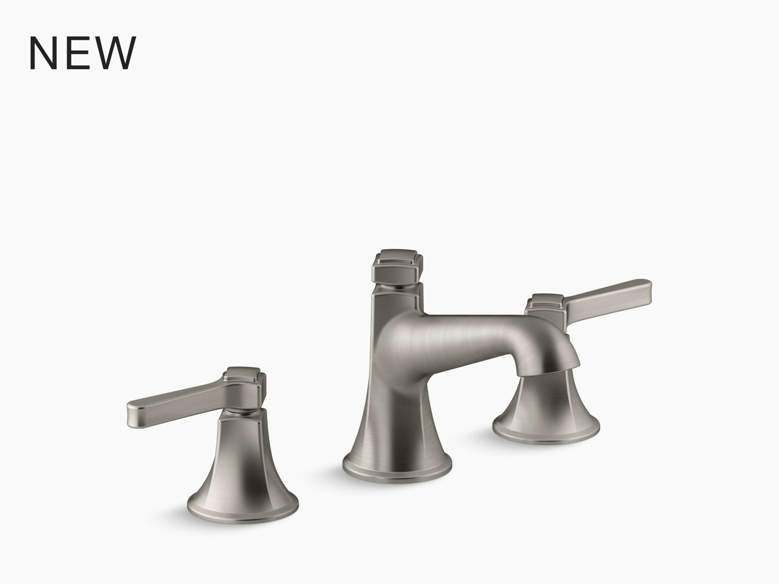 purist widespread bathroom sink faucet with low lever handles and low spout