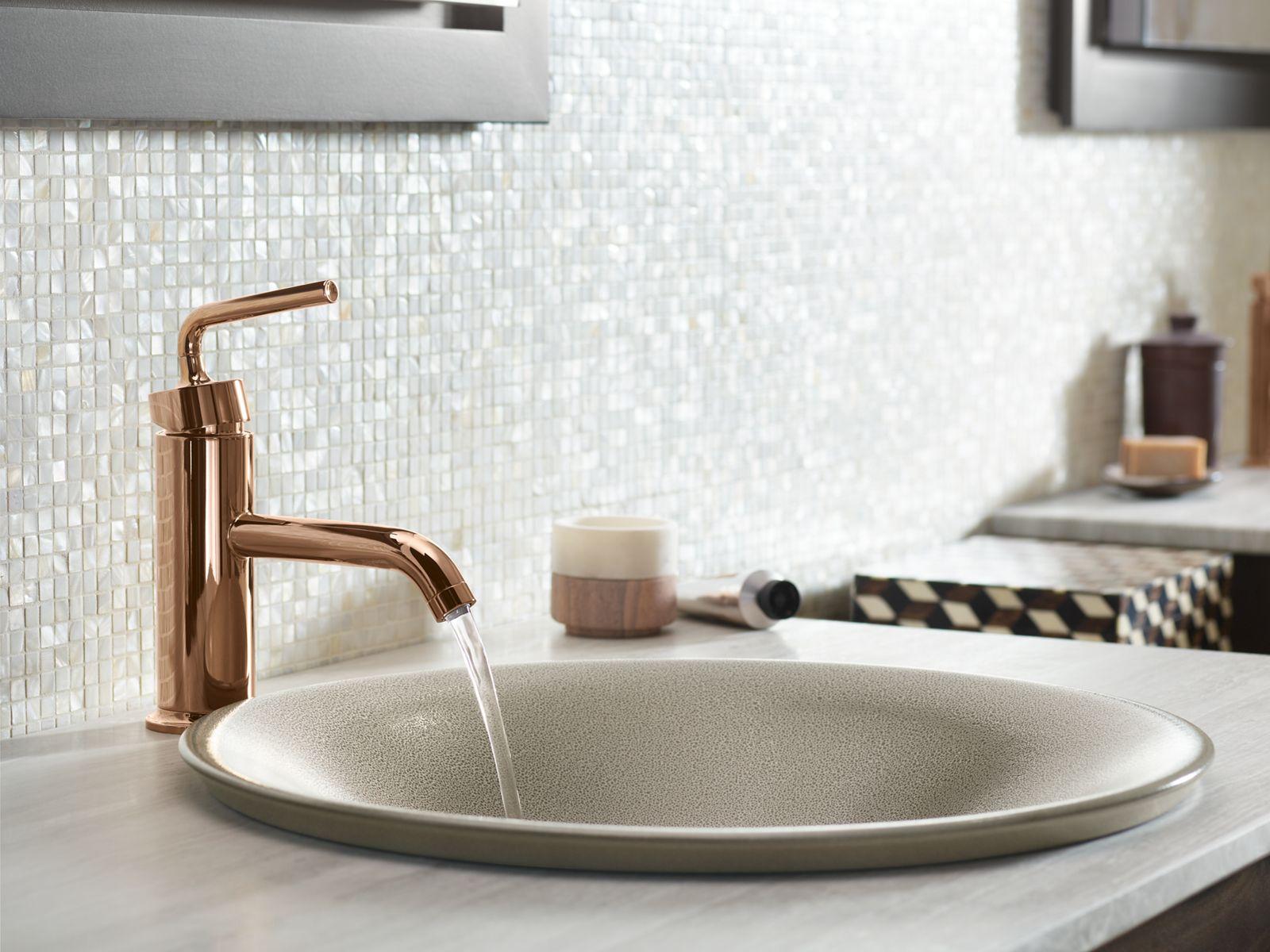 vibrant rose gold bathroom faucet