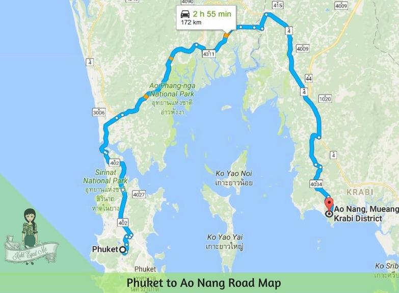 Phuket to Ao Nang Road Map - Krabi ao nang