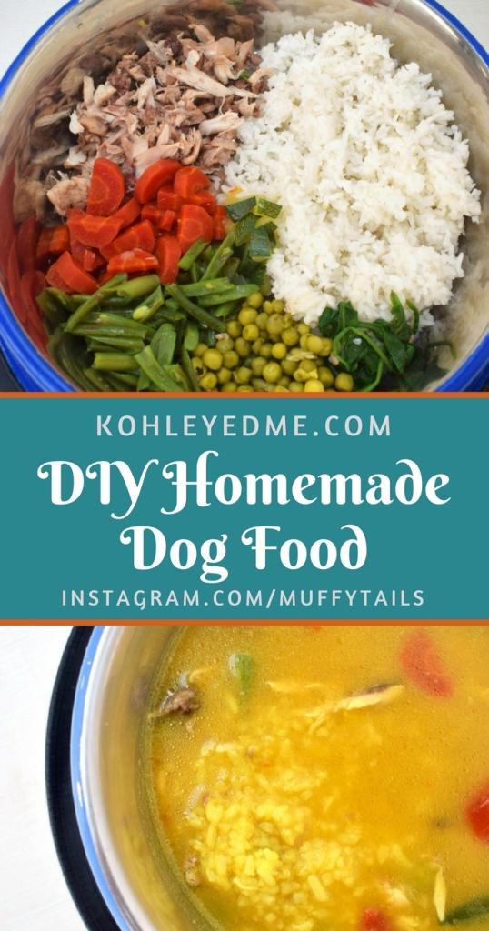 DIY Homemade dog food chicken and rice vegetables kohleyedme.com