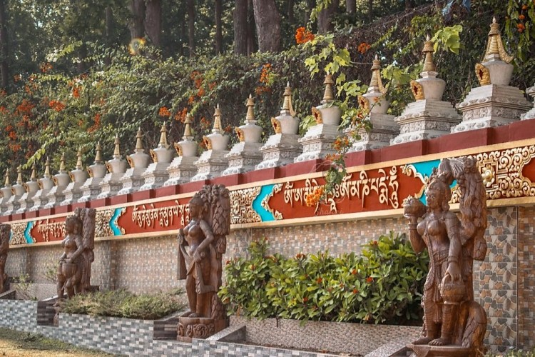 Miniature Stupas and sculptures at Buddha temple Dehradun