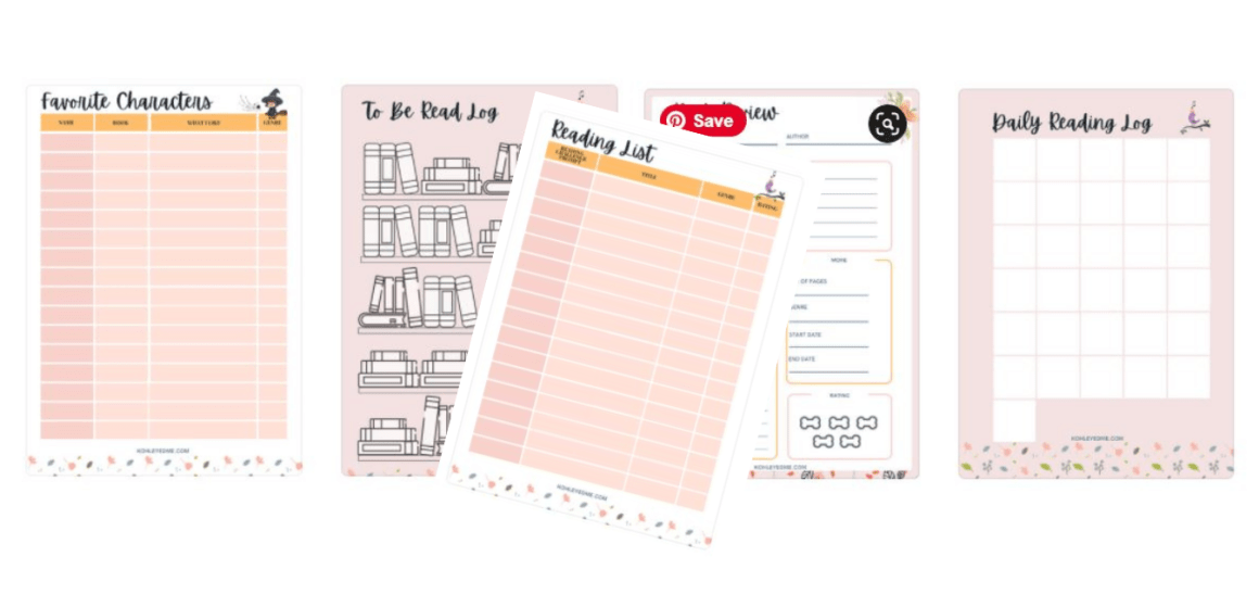 5 free reading log printables