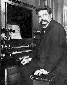 Albert Schweitzer (1875-1965) playing the organ in 1904.