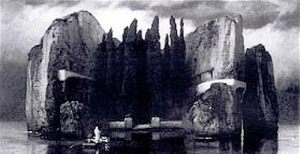 A black and white reproduction of Isle of the Dead by Arnold Böcklin inspired Sergei Rachmaninov in Paris in 1907
