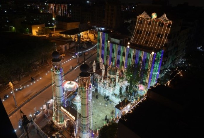 An illuminated mosque is pictured amid the Mawlid celebrations in Karachi, Pakistan. (AFP)